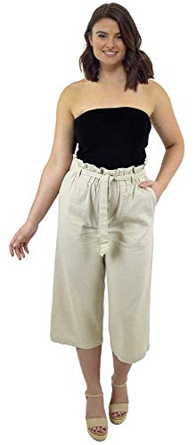 CityComfort Pantalones de Lino para el Verano, 3/4 de Longit