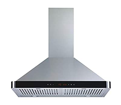 Winflo 30 In. 520 CFM Convertible Stainless Steel Wall Mount Range Hood with Stainless Steel Baffle Filters and Touch Sensor Control