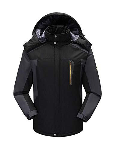 DONGXIN Classic Rain Jacket Winter Large Size Herren Outdoor Mountain wasserdichte Windjacke mit dicken Mantel Kapuzenjacke Sportswear Regenmantel Classic Rain Jacket (Color : Black, Size : 7XL)