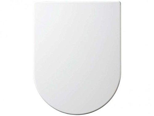 Realpack® Luxus-WC-Sitz, Toilettendeckel mit Absenkautomatik, oval, weiß, Badezimmer, Standard, D-Form, Bodenmontage, plastik, weiß, D-Shape