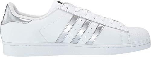 adidas Originals Damen Superstar Turnschuh, Weiß/Silber Metallic/Kern Schwarz, 45 EU