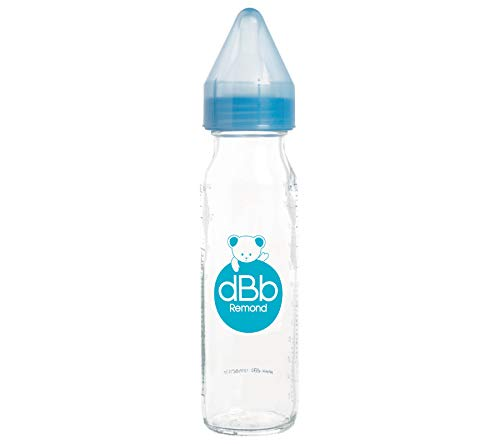 DBB REMOND Biberon Verre 240 Ml 'Regul'air' Tétine Non Silicone - System Bleu Translucide - S/Bte