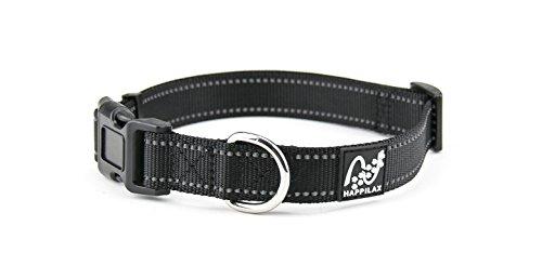 Happilax Hunde-Halsband für kleine Hunde, größen-verstellbar und reflektierend, 30-40 cm