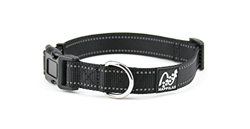 Happilax Halsband für mittlere und mittelgroße Hunde, größen-verstellbar und reflektierend, 35-50 cm