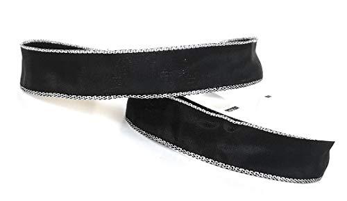 Trauerband 25m x 25mm SCHWARZ - Silber Dekoband Schleifenband Trauerschleife [5121]