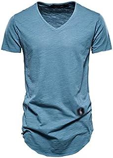 Wanxiaoyyyinnsdx Mens Henley Short Sleeve, Cotton Men's T Shirt Casual Solid Color Long Style T Shirt for Men Summer Quali...