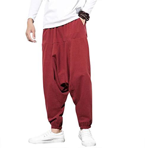 Pantalones Bombachos Cagados Hombre Mujer Unisex para Yoga Cómodo Pantalón Cagados Ancho Harem Pants con Entrepierna Talla Única Casual,Vino