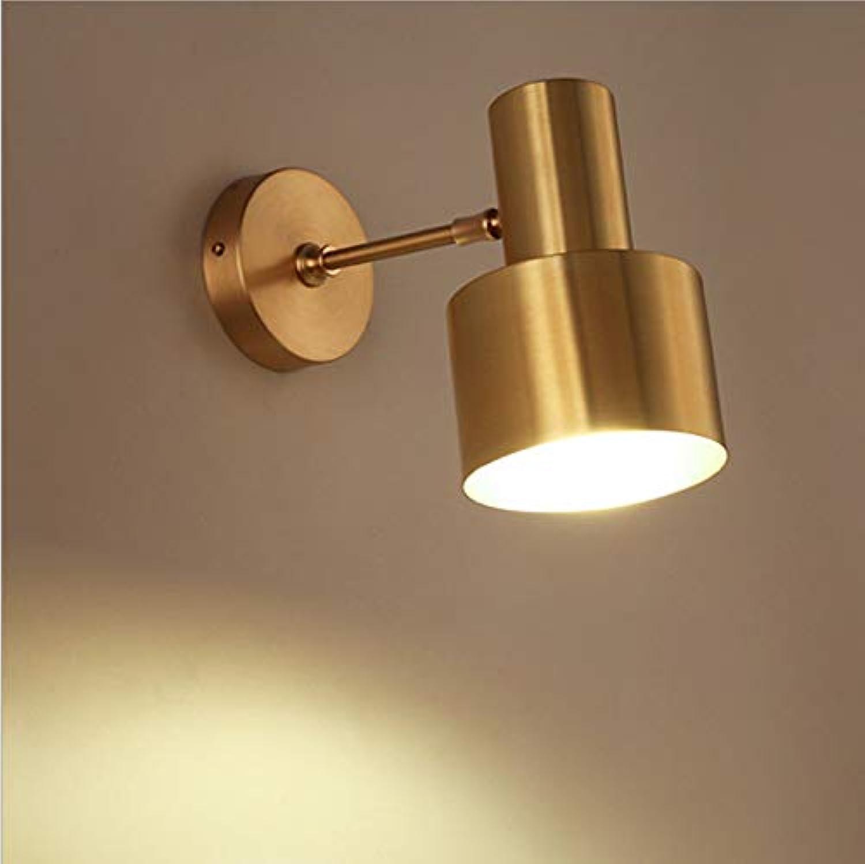 NIGHT WALL Moderne MessingGoldschlafzimmerkaffee-Badezimmermetallspiegelfront führte Wandlampe, Eisenversion, 12W