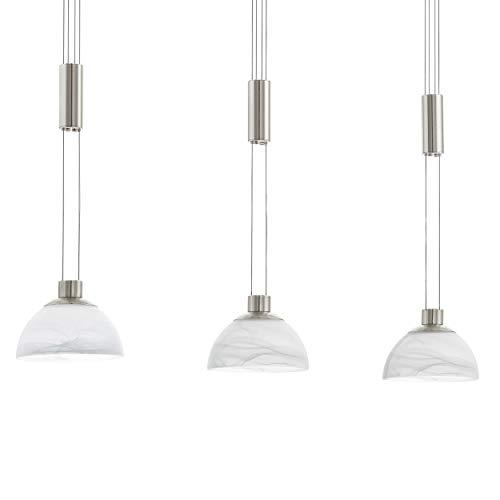 Preisvergleich Produktbild EGLO LED Pendelleuchte Montefio,  3 flammige Hängelampe höhenverstellbar,  Pendellampe modern,  Hängeleuchte aus Edelstahl in Nickel-Matt und Alabaster-Glas in Weiß,  LED Esstischlampe warmweiß