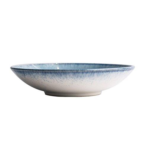 Creative Shallow Bowl, Dessert bol Salade bol bol de jus bol de soupe bol de riz ménage Restaurant vaisselle européenne Style vaisselle 21 * 5.5 CM (Couleur : Bleu)