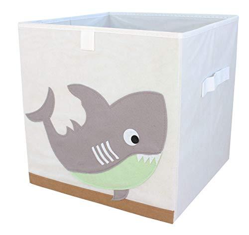 miRio • Aufbewahrungsbox Tier | Spielzeugkiste Kinderzimmer | Kinder Storage/Ordnungsbox/Würfel mit Tiermotiv | klein faltbar & sehr geruchsarm | 33x33x33cm (Hai)