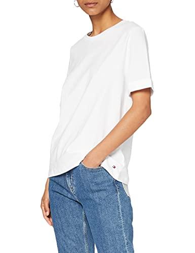 Tommy Hilfiger Damen Verity C-NK TOP SS T-Shirt, Weiß (Classic White 100), Medium (Herstellergröße: M)
