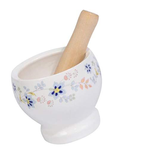 Hemoton Molinillo de Ajo de Cerámica Molinillo de Ajo de Porcelana con Maja Diseño de Flores Manual Molinillo de Medicina Olla Molinillo de Especias Dispositivo Gran Molinillo de
