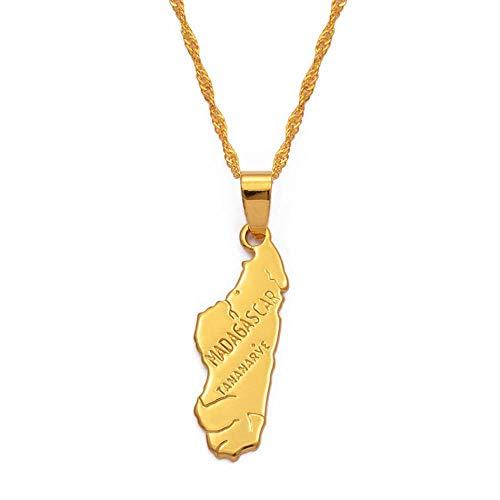 DSHT Madagaskar Karte Frauen Anhänger Halskette Afrika Goldkette