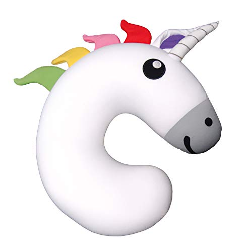 """Gamago Unicorn Kids & Kidults, Cute Airplane Pillow for Traveling, Ultra Soft Fabric Stuffed with Microbeads for Gentle Neck Support for Flights, Car, Bus & Train Rides, 10.5"""", White"""