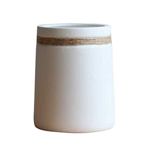 HEALLILY Jarrón de Cerámica Blanca Maceta Minimalista Cuerda de Cáñamo Contenedor Floral para Oficina en Casa Boda Estilo Rústico de Decoración de Casa de Campo 2