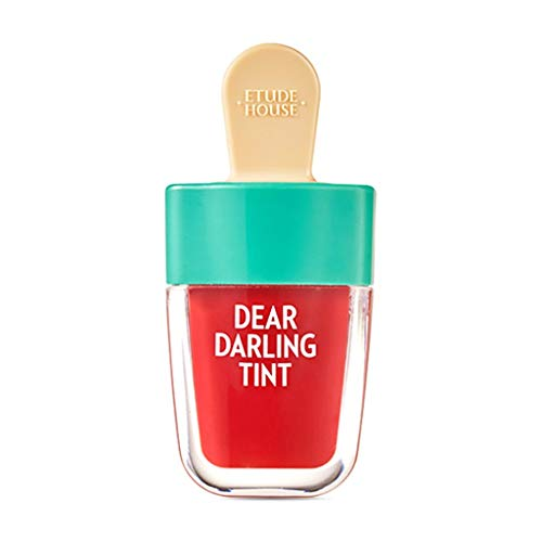 ETUDE HOUSE Dear Darling Water Gel Tint Ice Cream (RD307 Watermelon Red) | Vivid High-Color Lip Tint with Minerals and Vitamins from Soap Berry Extract to Moisture Your Lips