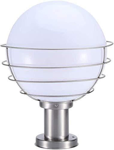 Moderna y creativa a prueba de agua al aire libre de la lámpara E27 faros columna columna bola de cristal Continental de aluminio al aire libre jardín terraza del jardín puerta de la casa farola,White