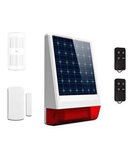 Tasc SOLAR y GSM/SMS (con tarjeta SIM), funciona SIN corriente eléctrica | Kit de seguridad con Sirena para manejar en Remoto con Móvil | mandos incluidos