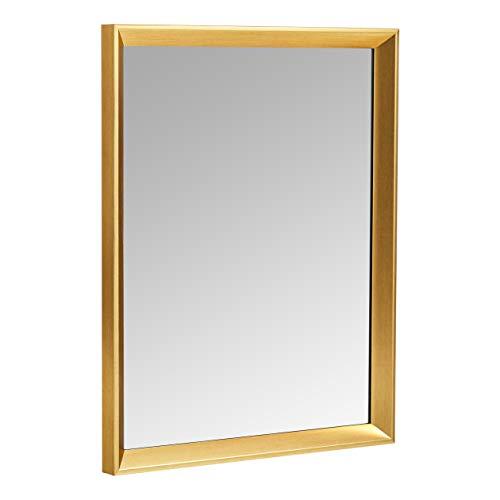 AmazonBasics Espejo para pared rectangular, 40,6 x 50,8 cm - marco biselado, latón