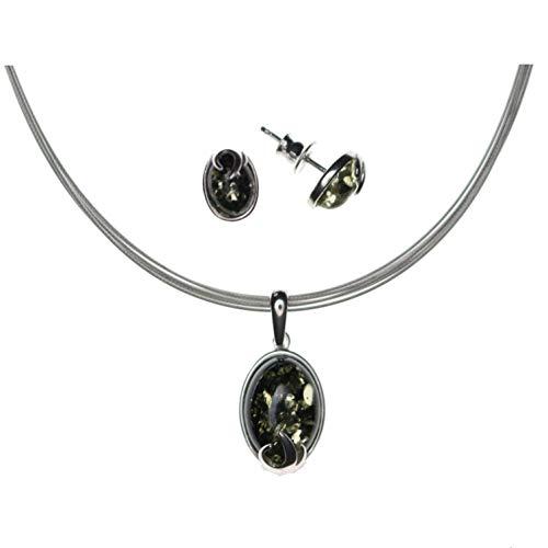 Elegante juego de joyas de ámbar verde de Artisana, colgante y pendientes de plata de ley 925/000 rodiada y ámbar, gargantilla de 6 hilos de acero inoxidable