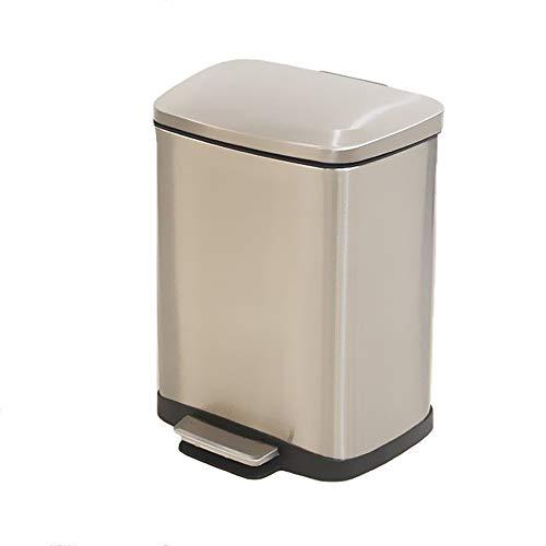 Nordic afvalemmer, 9 l, roestvrij staal, stil, met pedaal, voor afval, box, thuiskantoor, keuken, badkamer, mand, afvalemmer B