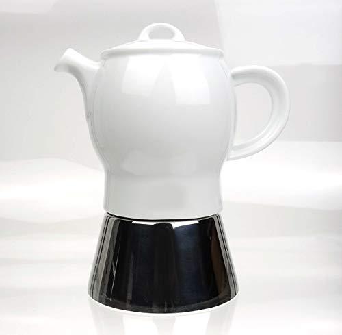 Moka Consorten Italienischer Espressokocher »Carina« | Edelstahl und weißes Porzellan | Füllmenge: 210 ml | Made in Italy