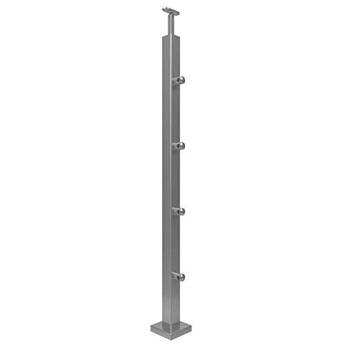 Acero inoxidable Barandilla postes postes rectangular 40x 40x 2+ 4x S012615-Soporte transversal Reling barandilla 12,0mm