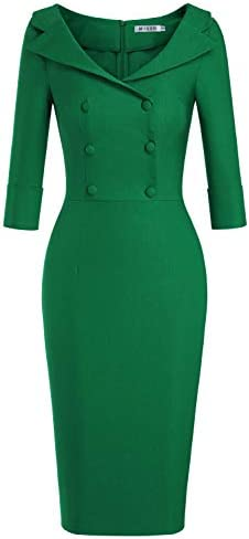 MUXXN Lady Solid Color Elbow Sleeve Below The Knee Formal Special Occasion Pencil Dress Green product image