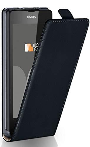 MoEx Flip Cover con Chiusura Magnetica Compatibile con Nokia Lumia 530 | Finta Pelle, Nero