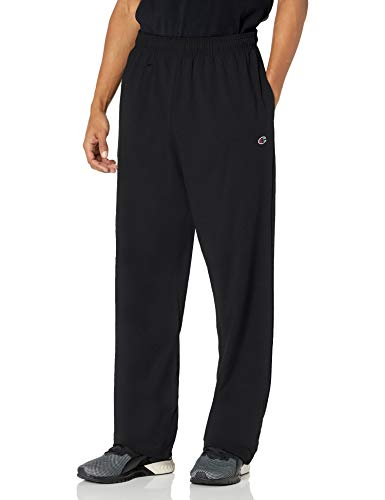 Champion Men's Authentic Open Bottom Jersey Pant, Large - Black