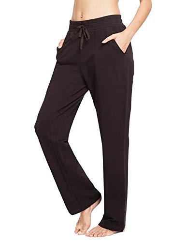 BALEAF Damen Thermo Jogginghose Sweathose Yogahose mit Eingriffstaschen und geradem Bein Braun L