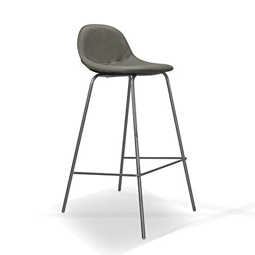 Italian Concept 165 Sety kruk, gelakt metaal, polyurethaan, stof, grijs, 38,5 x 41 x 84.5 cm, 2 stuks
