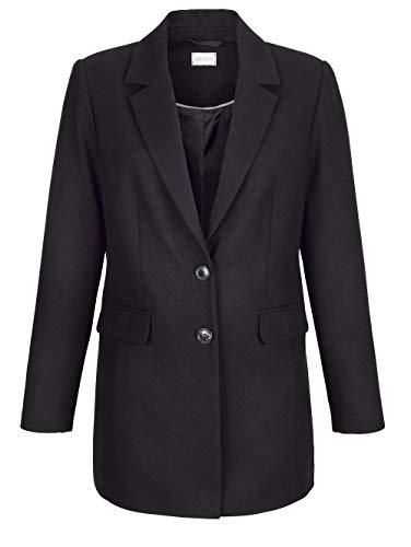 MONA Damen Kurzmantel mit Reverskragen in Schwarz mit wärmender Wollbeimischung