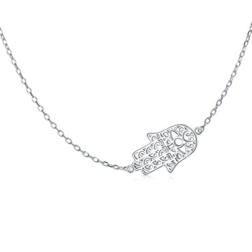 Sideways Choker Necklace with Adjustment Silver Chain S925 Sterling Silver Jewelry for Women Girls (Hamsa Hand 2)