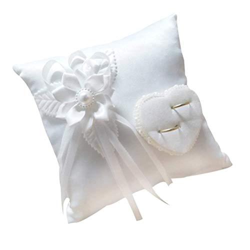 BESPORTBLE Hochzeit Ring Kissen Heirat Paar Ring Halter Ring Bearer Kissen Hochzeit Ring Kissen-Weiß