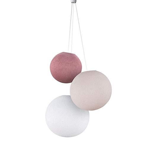 Suspension 3 globes vieux rose-dragée-blanc