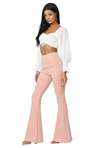 Cemi Ceri Women's High Waist Flare Pants, Medium, Lavender
