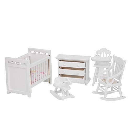 NITRIP Miniature Rocking Horse Dollhouse Cabinet, Modern Style Exquisite Good Accessory Dollhouse Model, Children for Kids(5-piece set)