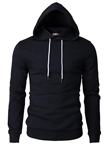 H2H Mens Basic Slim Fit Long Sleeve Hoodie Sweatshirts Navy US L/Asia XL (CMOHOL050)