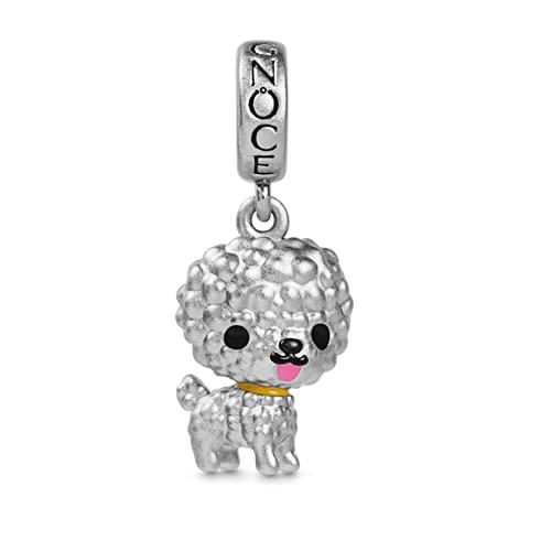 GNOCE Bichon Hund Anhänger Charm Sterling Silber baumeln Tiere Charms Bead Fit Armband/Halskette Geschenk für Frauen Mädchen Tochter