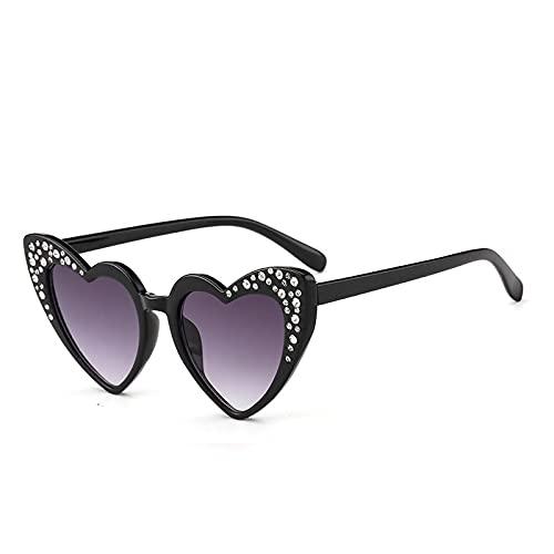 XUANTAO Fashion Love Gafas de Sol para niños Gafas de Sol con protección UV con Forma de corazón de melocotón con Diamantes de imitación de Gama Alta Gafas en Forma de corazón Marco Negro Hoja Gris