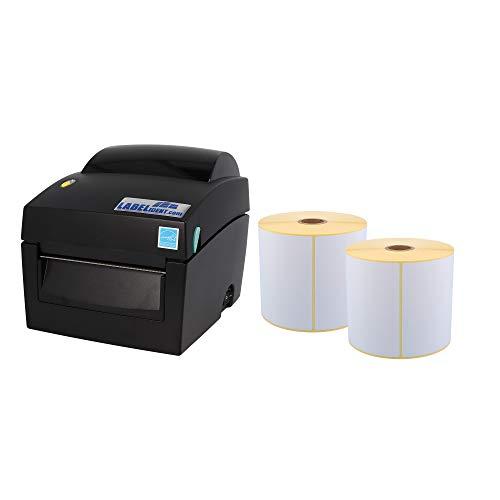 Labelident Starter-Set - Labelident BP4X Drucker mit Abreißkante inkl. 2 Rollen Versandetiketten (103x199 mm) für DHL, DPD & UPS, 203 dpi - Thermodirekt - 108 mm max. Druckbreite, LAN, seriell, USB