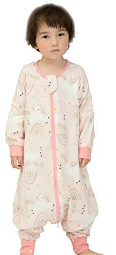 Chilsuessy Baby Ganzjahres Schlafsack 1 Tog Sommerschlafsack Babyschlafsack mit Füßen für Säugling Kinder Bambus Baumwolle Schlafsack mit Beinen, Einhorn, 110/Baby Höhe 110-120cm