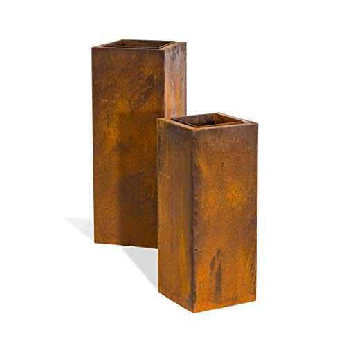 Pureday Pflanzsäulen-Set 2-TLG, Rost-Optik, Metall, Pflanzeneinsatz, ca. Höhe 90cm + 70 cm