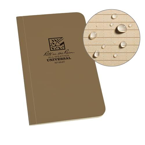 Rite in the Rain Carnet de notes tactique en papier imperméable avec couverture souple - 120 pages - 60 feuilles - Reliure parfaite - Règles métriques et impériales - 8,4 x 15,2 cm