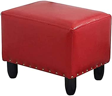 Ottoman Footrest Stool Modern Ottoman Foot Stool, Living Room Rectagular Red Faux Leather Sofa Stool, Upholstered Bed Pouf Be
