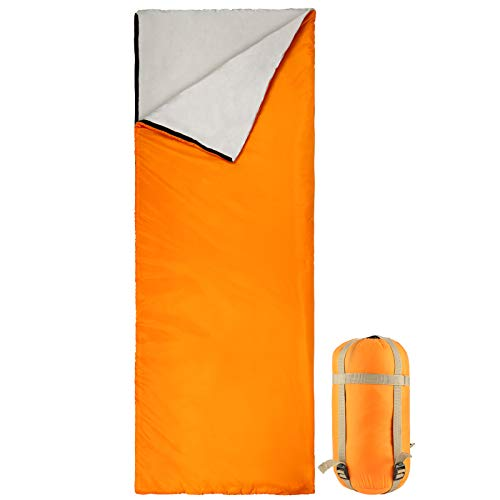 Bessport Schlafsack Sommer Ultraleicht | 3 Jahreszeiten Deckenschlafsack nur 800g für Camping, Erwachsene, Kinder-Warm Baumwolle Füllung, Wasserdichter (Orange)