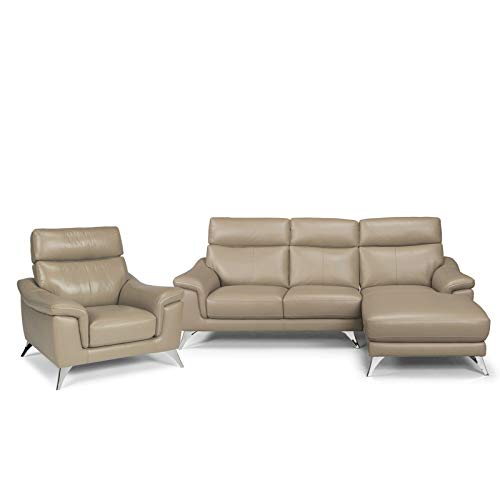 """Home Styles homestyles by Flexsteel Moderno Leather Upholstered Chaise Sofa & Chair Sofa: W-90 ¾"""", D-58 ¾"""", H-36"""" Chair: W-40 ¼"""", D-35"""", H-36"""", Beige -  homestyles® by Flexsteel®, 5230-615"""