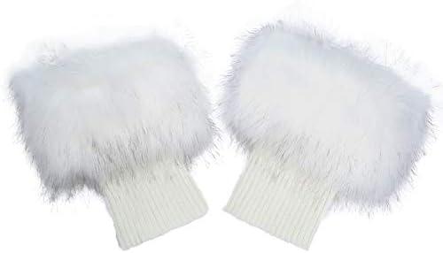 La Carrie Women Faux Fur Leg Warmers Short Furry Leg Foot Cuffs Girls Winter Knitted Boot Socks product image